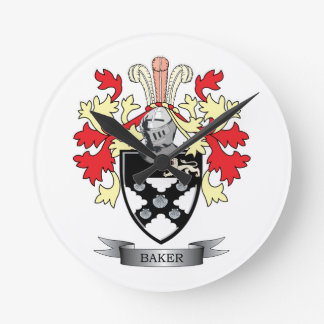 Baker Coat of Arms Round Clock