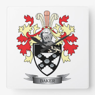 Baker Coat of Arms Square Wall Clock