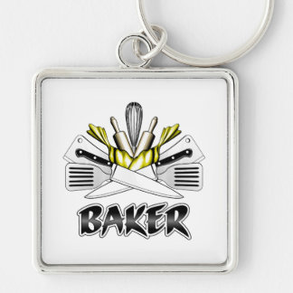 Baker: Cooking Utensils Silver-Colored Square Keychain