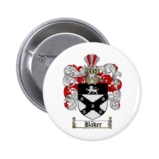 BAKER FAMILY CREST -  BAKER COAT OF ARMS 2 INCH ROUND BUTTON