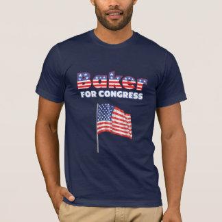 Baker for Congress Patriotic American Flag Design T-Shirt