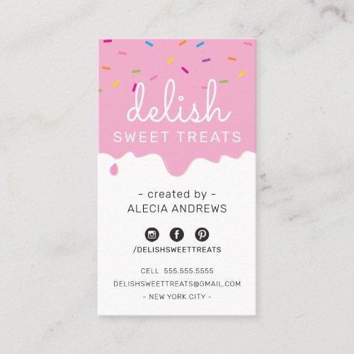 BAKER FROSTING DRIP modern colorful sprinkles pink Business Card