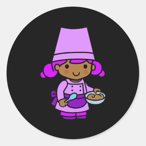 Baker Girl 1 Round Stickers