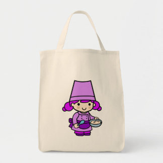 Baker girl 2 grocery tote bag