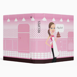 Baker Girl Illustrated Recipe Binder Customizable