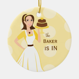 Baker in/out sign Double-Sided ceramic round christmas ornament
