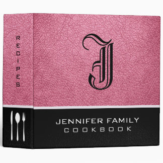 Baker-Miller pink Leather Family Recipes Monogram Binder