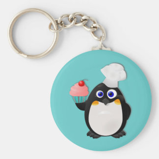Baker Penguin with Cupcake II Basic Round Button Keychain