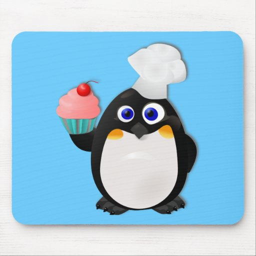 Baker Penguin with Cupcake II Mouse Pad
