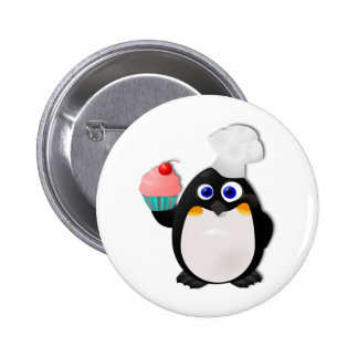Baker Penguin with Cupcake II Pinback Button
