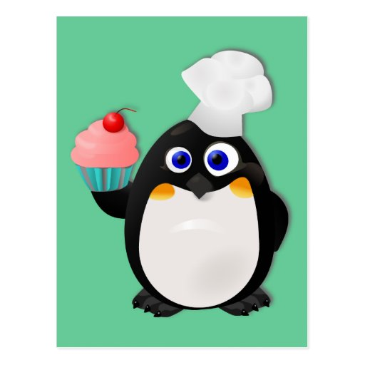 Baker Penguin with Cupcake II Post Cards