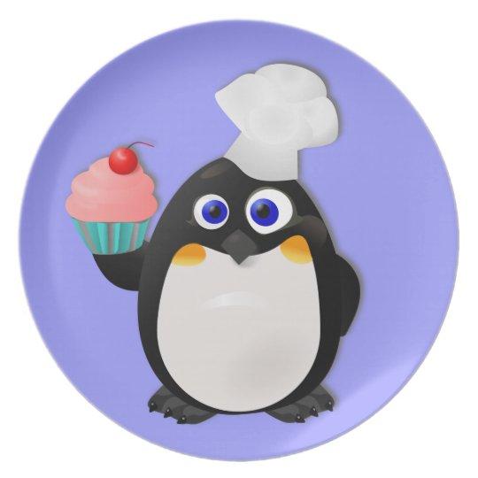 Baker Penguin With Cupcake Melamine Plate