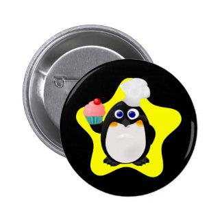 Baker Penguin with Cupcake Pinback Button