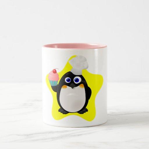 Pink Two-Tone Penguin Baker Mug