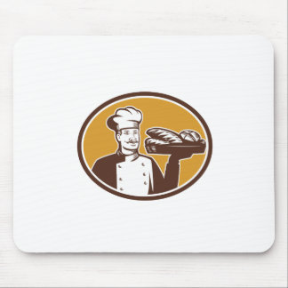 Baker Serving Bread Loaf Woodcut Mouse Pad