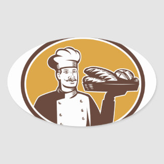 Baker Serving Bread Loaf Woodcut Oval Sticker