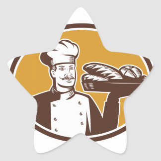 Baker Serving Bread Loaf Woodcut Star Sticker