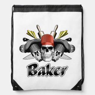 Baker Skull and Cooking Utensils Drawstring Backpack