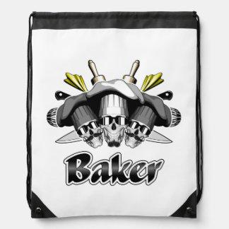 Baker Skull and Cooking Utensils Drawstring Bag