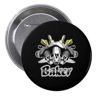 Baker Skull and Cooking Utensils Pinback Button