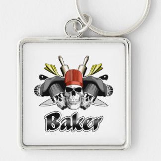 Baker Skull and Cooking Utensils Silver-Colored Square Keychain