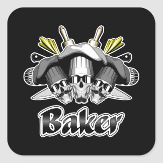 Baker Skull and Cooking Utensils Square Sticker