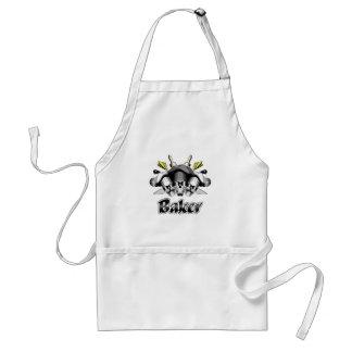 Baker Skull and Kitchen Utensils Adult Apron