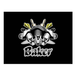 Baker Skull and Kitchen Utensils Postcard