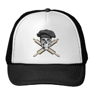 Baker Skull and Rolling Pins: Black Mesh Hat