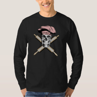 Baker Skull and Rolling Pins: Pink T-Shirt