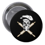 Baker Skull and Rolling Pins: White 3 Inch Round Button