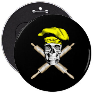 Baker Skull and Rolling Pins: Yellow Pinback Button