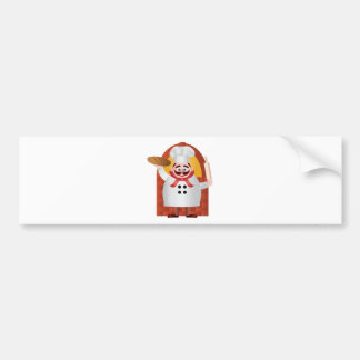 Baker with Bread and Rolling Pin Illustration Bumper Sticker