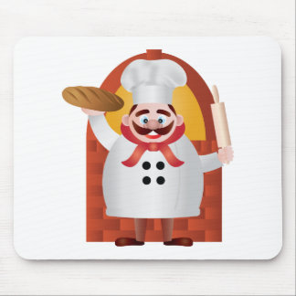 Baker with Bread and Rolling Pin Illustration Mouse Pad