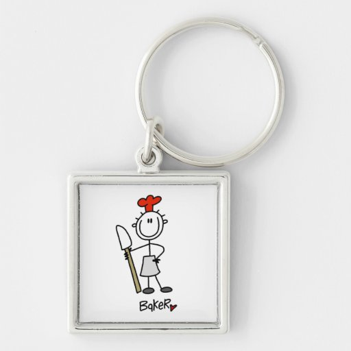 Baker With Scraper Silver-Colored Square Keychain