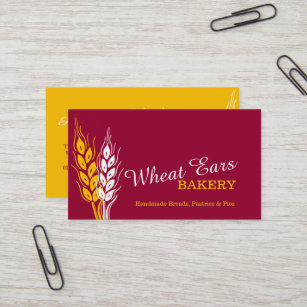 Earring card business cards zazzle bakers bakery wheat ears red yellow business cards colourmoves