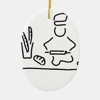 bakers bread bake ceramic ornament