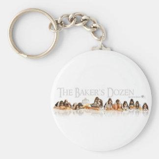 Bakers Dozen Basset Hound Puppies Basic Round Button Keychain