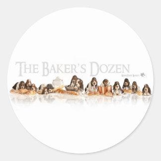 Bakers Dozen Basset Hound Puppies Classic Round Sticker