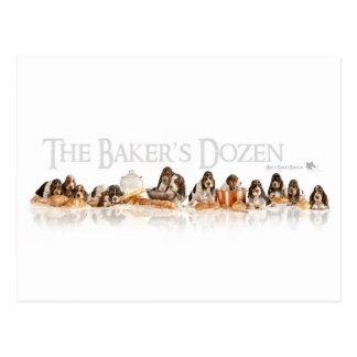 Bakers Dozen Basset Hound Puppies Postcard