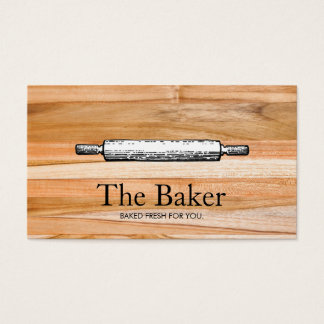 Baker's Rolling Pin Bakery Catering Wood Business Card