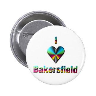 Bakersfield -- Blue Green & Burgundy Pinback Button