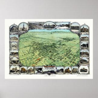 Bakersfield, CA Panoramic Map - 1901 Poster