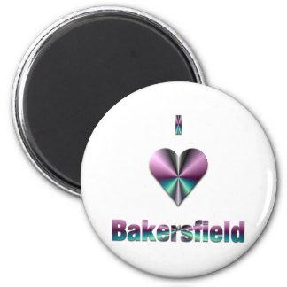 Bakersfield -- Purple & Turquoise Refrigerator Magnet