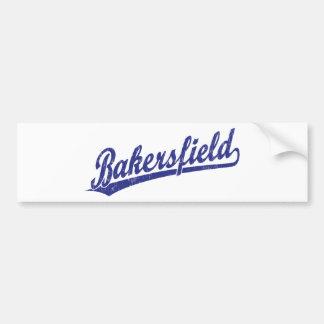 Bakersfield script logo in blue car bumper sticker