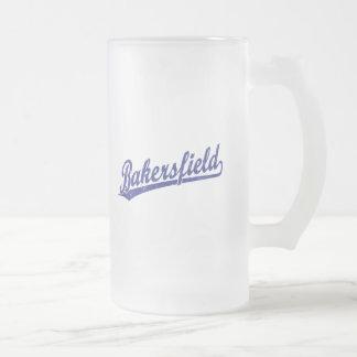 Bakersfield script logo in blue frosted glass beer mug