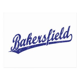 Bakersfield script logo in blue postcard