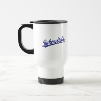 Bakersfield script logo in blue travel mug