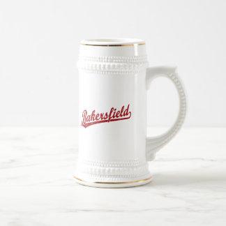 Bakersfield script logo in red beer stein
