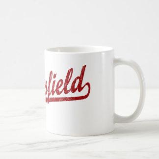 Bakersfield script logo in red coffee mug
